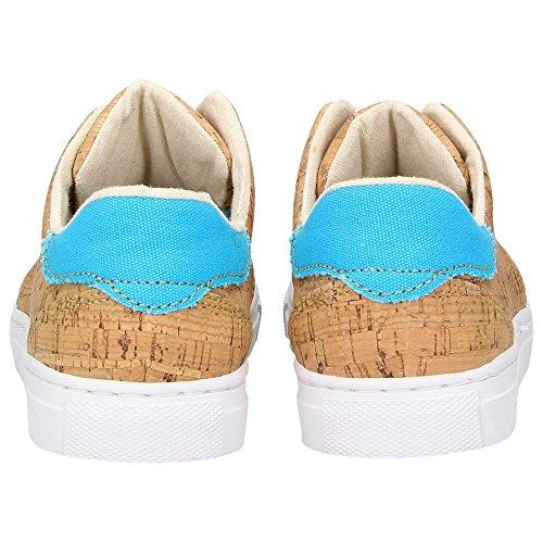 ZWEIGUT® -Hamburg- echt #401 Kork Allwettertauglich Schuhe Damen Halbschuhe Sneaker, vegan + nachhaltig aus echtem Kork, Schuhgröße:38, Farbe:türkis-kork - 5
