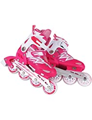 FA Sports Skate Gears Kinder Inline, Patines para Niños, Rosa (girly pink, blanco), S/30-33