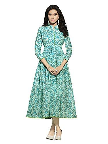 Applecreation Women Cotton Kurta(Kurti For Womens Prsh5011-L_Turquoise_Large)