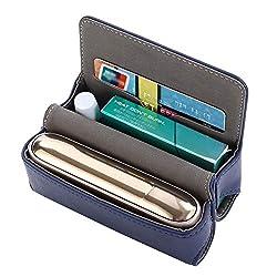 DrafTor E Zigarette Tasche, PU Leder Zigarettenetui für IQOS 3.0 mit Magnetabdeckung (nur Tasche)(Blau)