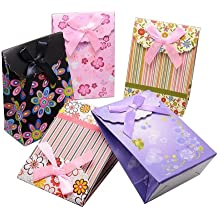 Pandahall 6PCS Sacchetti Regalo Sacchetti Colorati Sacchetti Carta Colore Misto, Assortito, circa 12.5cm di Larghezza, 16.5cm di Lunghezza