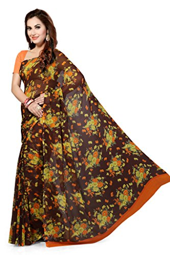 Ishin Faux Georgette Brown Floral Printed Women's Saree.  available at amazon for Rs.299