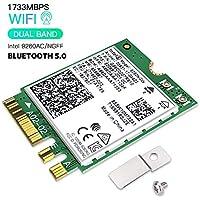 Hommie Intel Wireless AC 9260 1733Mbps Network Adaptor Bluetooth 5.0, IEEE 802.11AC Dual Band 2.4G/5Ghz WiFi Card Mini NGFF/M2 Wireless Card for Laptop Desktop Smartphone Bluetooth Headphones