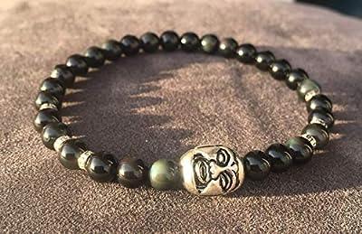 bracelet OBSIDIENNE OEIL CELESTE Bouddha Argent 925 PROTECTION INTROSPECTION