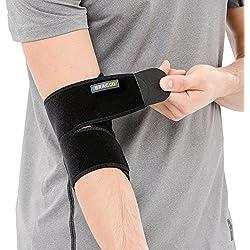 BRACOO Ellenbogenbandage - medizinischer Ellenbogenschoner | atmungsaktive Ellenbogenstütze mit Klettverschluss für Damen und Herren | schwarz | ES10