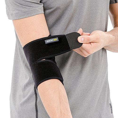 BRACOO Ellenbogenbandage – Ellenbogenschoner – Ellenbogenorthese – Gelenkbandage | atmungsaktive Ellbogenbandage mit Klettverschluss
