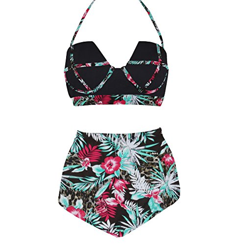 LA PLAGE Damen Colorful Hohe Taille Vintage Push up Gepolstert BH Badebekleidung, Damen, Underwire-Black Floral, Large -