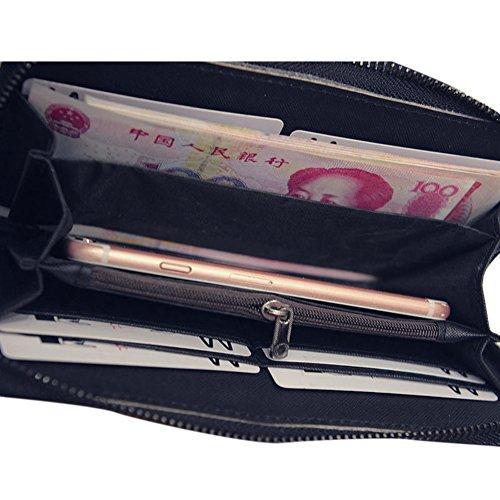CHIC-CHIC Portefeuille Femme Sac à Main Longue Bourse Vintage Mignon Rivet Skull Punk Cuir Simili Wallet (argent ) argent