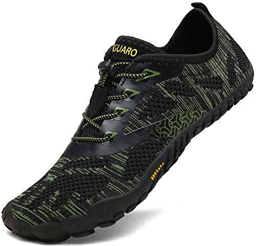 SAGUARO Outdoor Sport Barfußschuhe Damen Traillaufschuhe Herren Fitnessschuhe Atmungsaktive Zehenschuhe rutschfest Trekking Wander Schuhe Grün Gr.44