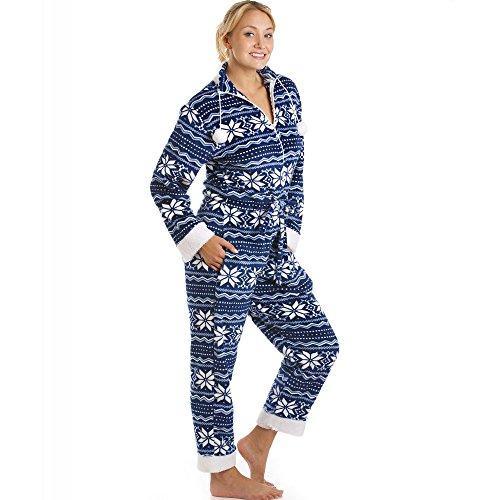 Superweicher Schlafanzug-Overall - seidig glatt - Nordisches Muster Blau & Weiß Blau