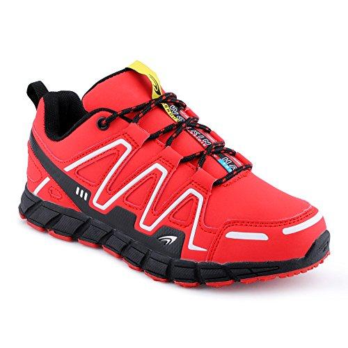 FiveSix Herren Damen Sneaker Sportschuhe Lauf Freizeit Mehrfarbig Runners Fitness Low Unisex Schuhe Rot/Schwarz-W