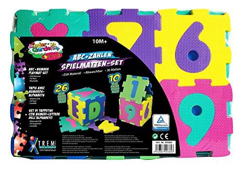 Alfombra infantil para juegos, diseño de puzzle de letras y 10 númer