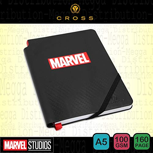Offizielles Marvel Notizbuch, liniert, 100 g/m², mit elastischem Verschluss, integrierte Tasche, Lesebändchen, Stifthalter (Stift Nicht inkl), Schwarz