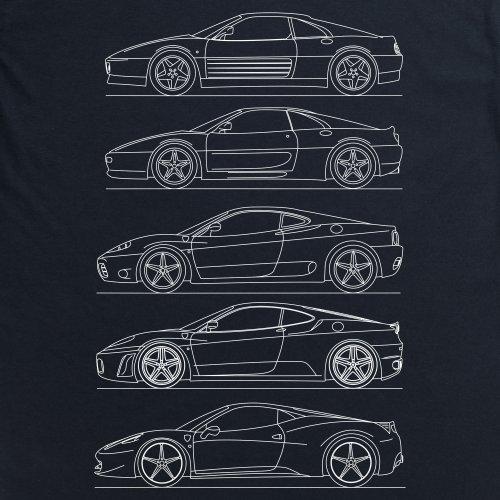 Ferrari V8 Generations T-Shirt, Herren Schwarz