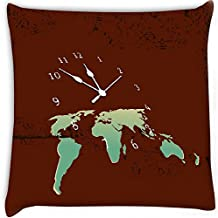 Snoogg World Clock Digitally Printed Cushion Cover Pillow 14 x 14 Inch