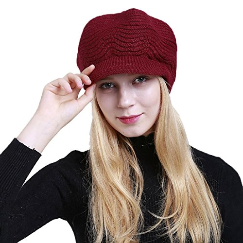 Cappelli,Yanhoo Donne Inverno Crochet Cappello Lana Lavorata A Maglia Beanie Caldo Caps vino rosso