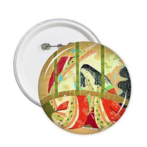 DIYthinker Traditionelle japanische Art Ukiyoe Weiblicher Bambusvorhang Individuelle Kimono Japan-Kunst-Malerei Runde Stifte Abzeichen-Knopf Kleidung Dekoration 5Pcs XXL