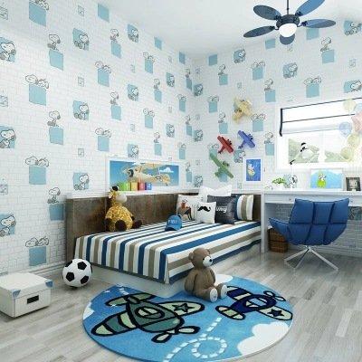 BBSLT Cartoon carino sfondo Snoopy per bambini la schiuma di mattoni non-tessuto di sfondo , azzurro , 0.53m*10m - Stati Uniti Schiuma Mappa