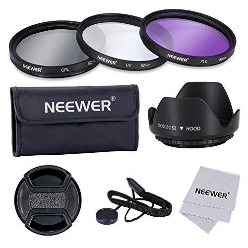 Galleria fotografica Neewer- 52mm Professionale Lente Filtro Kit di Accessori per NIKON D7100 D7000 D5200 D5100 D5000 D3300 D3200 D3100 D3000 D90 D80, Canon Sony Samsung Fujifilm Pentax e Altri Obiettivi per Reflex Digitale con Filo Filtro 52mm - Include (1) 52mm Set Filtro (UV, CPL, FLD) + (1) Paraluce Tulipano + (1) Snap-on Coprilente + (1) Coprilente Custode Guinzaglio + (1) Filtro Custodia per il Trasporto + (1) Microfibra Panno di Pulizia