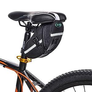 TFY Bolso para Sillín de Bicicleta para Herramientas de Reparación de Bicicletas, Teléfonos Inteligentes y Accesorios, Carteras y más Bonus Luz Trasera para Bicicleta