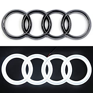 Jetstyle LED Black Emblem Front Car Grill Badge Auto Illuminated Logo Glowing Rings Lights Drl Daytime Running Lights White - Drive