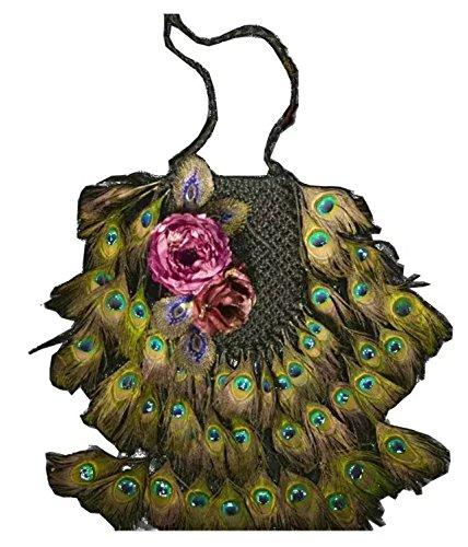 phoenix / pavone coda piuma tipo a mano maglia / tessuto borsa a tracolla/ borse a zainetto /borse a spalla