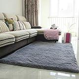 DGF Moderne dicke Seide Teppich Wohnzimmer Couchtisch Schlafsofa Schlafzimmer Teppich (Farbe: Gras grün, silbergrau) Teppich ( Farbe : Grau , größe : 1.6*2.0 M )