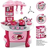 Hi-Widze Little Chef Kids Kitchen Play Set With Light & Sound Cooking Kitchen Set Play Toy (31 PCS Pink)