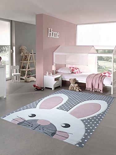 Kinderteppich Spielteppich Teppich Kinderzimmer Babyteppich Hase in Rosa Weiss Grau Größe 160x230 cm