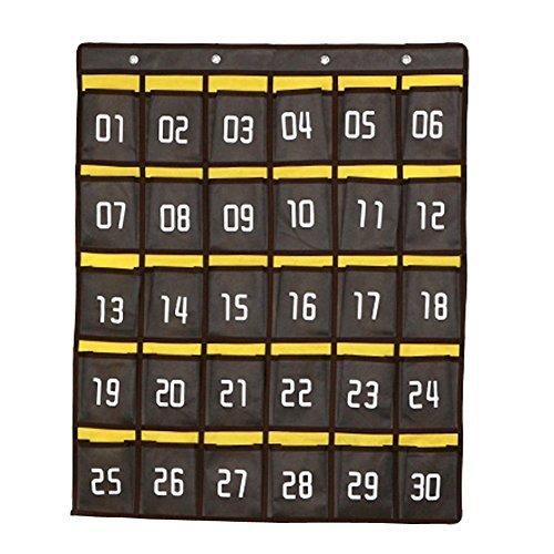 ozzptuu Leinwand 30Taschen nummeriert Klassenzimmer zum Aufhängen Pocket Charts Wandhalterung Handys Storage Organizer dunkelgrau (Storage Pocket Chart)