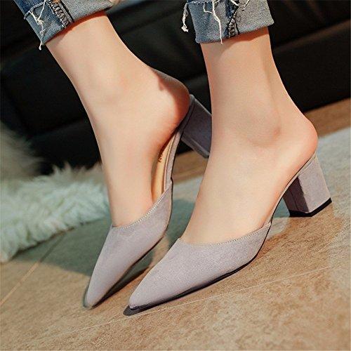 HOMEE Mesdames pantoufles Retro pointu en daim pied Kick Casual chaussures paresseuses 38 Eu