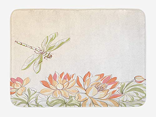 Dragonfly Bath Mat, Lotus Flower Field with Dragonfly Flying Oriental Blooms Artful Print, Plush Bathroom Decor Mat with Non Slip Backing, 23.6 W X 15.7 W Inches, Cream Peach Coral