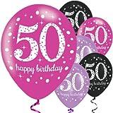 Feste Feiern Geburtstagsdeko Zum 50 Geburtstag | 6 Teile Luftballons Pink Schwarz Violett Party Deko Set Happy Birthday