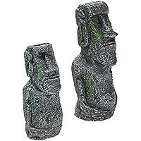2 PCS Accesorios de decoración de escritorio antigua Pascua isla cabeza estatua retrato acuario peces tanque ornamento de la casa