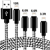 Phone Cable 4 Pack [3/6/6/10ft] Extra Long Nylon Braided USB Cable syncing Cord Compatible Phone 8/8plus/7/7plus/6s/6s Plus/se and More-Black