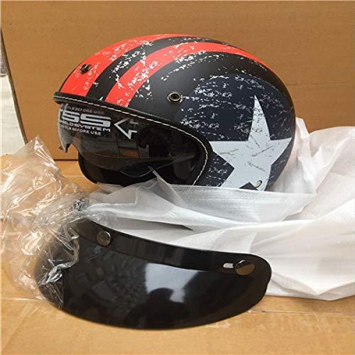 Berrd Casco moto retrò Casco aperto Casco casco retrò Casco motocross stampa opaca XL