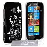 Yousave Accessories no-ka01-z102 Case + Film for Nokia Lumia 610 Floral Butterfly Black/Silver