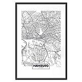 murando - Poster Stadt Hamburg - 30x45 cm - Kunstdruck - Wandbild - Print - Bilder - Bilderrahmen - Karte d-B-0228-ao-a