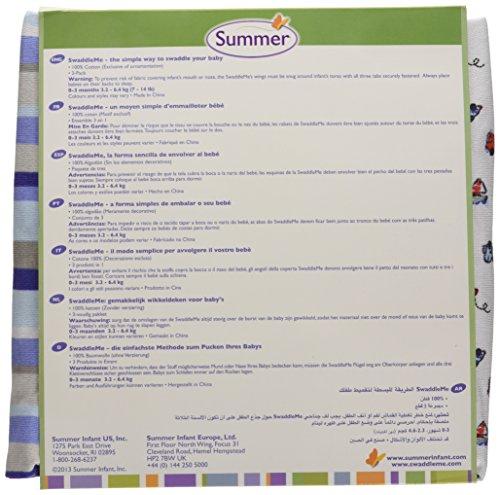 Summer Infant 71064 SwaddleMe Ganzkörper Pucksack 3er Pack Jungs, Tüt-Tüt, Streifen, Uni - 100 Prozent Baumwolle, blau