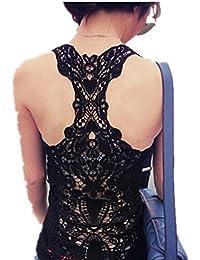 Autek women's shirt Nouvelles femmes de mode sexy t-shirts Crochet Retour Creux-dehors Hauts Gilet Caraco dentelle Cami gilet camisole de vastes (taille Asie)