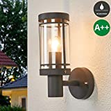 Lampenwelt Wandleuchte außen 'Djori' (spritzwassergeschützt) (Modern) in Schwarz aus Edelstahl (1 flammig, E27, A++) | Außenwandleuchten Wandlampe, Led Außenlampe, Outdoor Wandlampe für