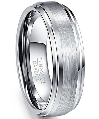 Nuncad Ring Herren/Damen Matt + hochpoliert 7mm Silber aus Wolfram, Ring Unisex für Hochzeit, Verlobung u. Partner, Größe 63 (23) (Herren 7 Ringe, Größe)