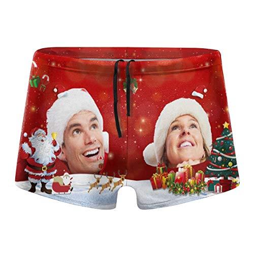 DIYBESTGIFT Badehose für Herren, personalisierter Fotodruck, Foto, Paar, Weihnachtshose Gr. XXL, rot