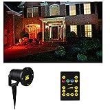 Weihnachtsbeleuchtung Projektor Weihnachten Effektleuchte Außen Strahler (Projektionslicht, Lichtpunkte Rot und Grün, Party Beleuchtung, Fernbedienung)