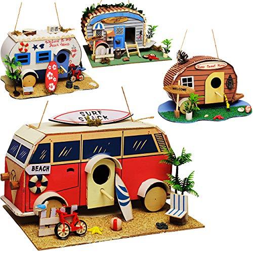 alles-meine.de GmbH Vogelhaus - Wohnwagen - Wohnmobil - Caravan - aus Holz - 28 cm - Nistkasten Vogelhäuschen Vogelnistkasten - für Garten & Balkon - Bunte Farben / Haus - zum Au..