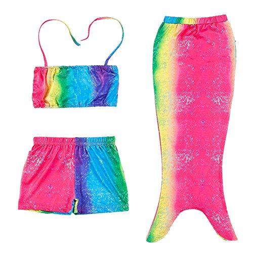 Le SSara Mädchen 3 Stück Regenbogen -Meerjungfrau -Endstück-Fisch-Skala-Badeanzug-Badebekleidung (6-7 Jahre, A-Regenbogen) (Regenbogen Fisch Kostüme)
