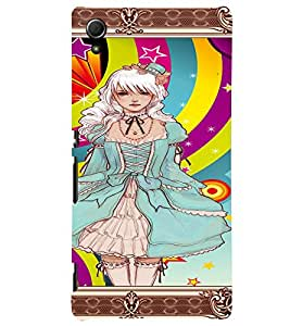 Fuson Cute Girl Back Case Cover for SONY XPERIA Z4 - D3646
