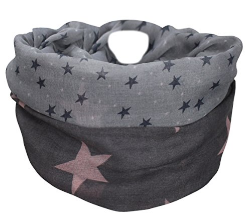 XXL Neue Kollektion Damen Schal leichter Schlauchschal Viele Farben (Stern Dunkelgrau/Rosa)