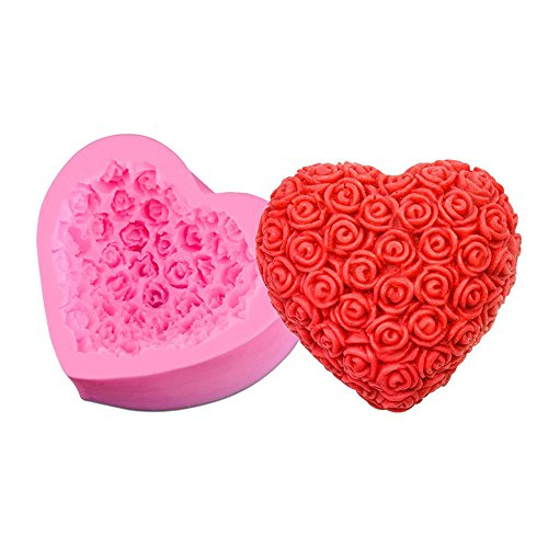 Cupcinu Rose Herzform Silikonform Fondant Kuchenform DIY Gummi Candy Schokolade Seifenform Kreative Dessert Mould Backform
