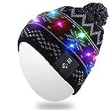 Qshell LED String Light up Mütze Strickmütze mit Kupferdraht Bunte Lichter 15 LEDs für 6-12 Kinder Indoor und Outdoor, Festival, Urlaub, Feiern, Parteien, Camping, Schwarz